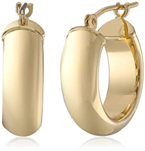 Duragold 14k Yellow Gold Half-Round Hoop Earrings