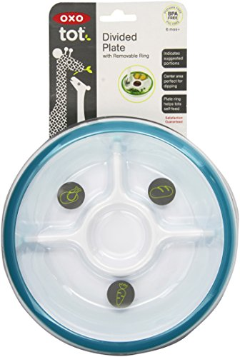OXO Tot Divided Plate with Removable Training Ring and Dipping Center-Aqua