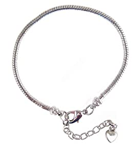 "Starter Master Bracelet for Pandora, Troll, Biagi and Charmilia Style Beads - Removable Lobster Claw - Beads Won't Fall Off + 1-1/2"" Extension Chain - Silver Tone Metal (8-1/2"") (FB119)"