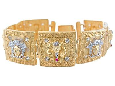 10k Two-Tone Gold White CZ Greek Key Medusa and King Tut Egyptian Bracelet