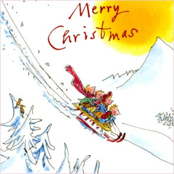 Pack of 10 Quentin Blake Help the Hospices Charity Christmas Cards - Kids on Sledge