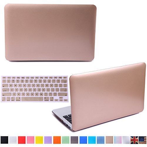 "HDE Matte Hard Shell Clip Snap-on Case + Matching Keyboard Skin for MacBook Pro 13"" (Non-Retina) - Fits Model A1278 (Gold)"