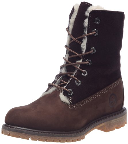 Timberland Women's Shearling Fold Down Dark Brown Lace Ups Boots 83385 7 UK