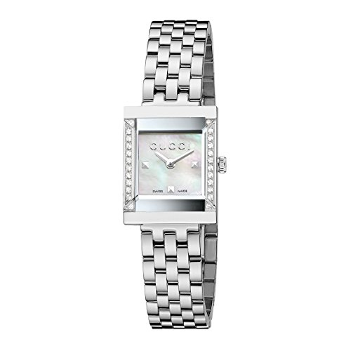 Gucci G-Frame Collection Women's Quartz Watch set with 24 Diamonds White Mother of Pearl Dial Analogue Display...