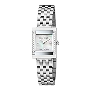 Gucci G-Frame Collection Women's Quartz Watch with Mother of Pearl Dial Analogue Display and Stainless Steel Bracelet YA128405