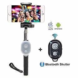 AirPlus K|Star Series Selfie Stick With Bluetooth Wireless Remote [BLACK]