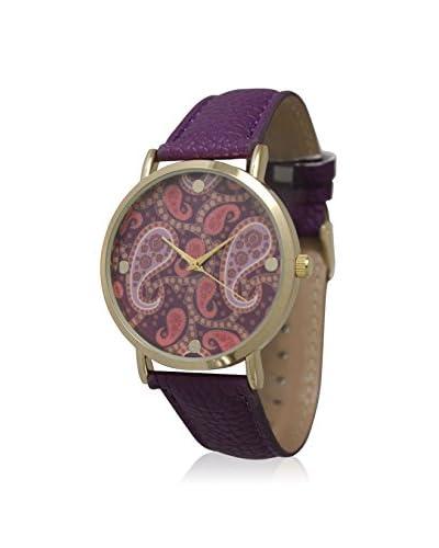 Olivia Pratt Women's 13359 Purple/Paisley Multicolor Leather Watch
