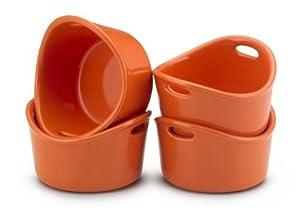 Premium Rachael Ray Stoneware Orange Finish Ramekins Cookware Set of 4 & a Special Gift