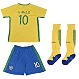 FWC 2016 Neymar Jr 10 Brazil Brasil Home Futbol Football Soccer Kids Jersey & Short (12-13 years)