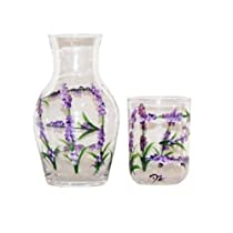 ArtisanStreet's 2-piece Bedside Water Carafe Set in Lavender Design. Made to Order, Signed