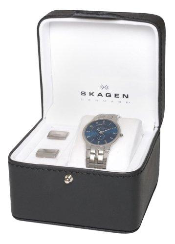 Skagen Men's Cuff Links and Watch Gift Set #433LSXN-SET