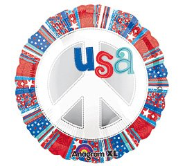"USA Patriotic Peace Sign 18"" Mylar Balloon"