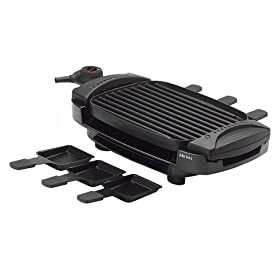 Aroma AHG-2233 Dual Flip 100-Square-Inch Grill and Griddle with 6 Raclette Trays