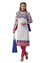 Inddus Exclusive Women Magnificient White Embroidered Georgette Unstitched Dress Material With Chiffon Dupatta...