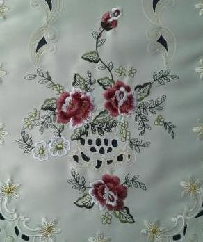 "48"" Table Runner Or Dresser Scarf Embroidered With Mauve Roses"