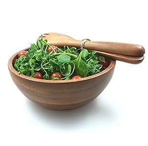 Deep Hardwood Salad Bowl and Servers