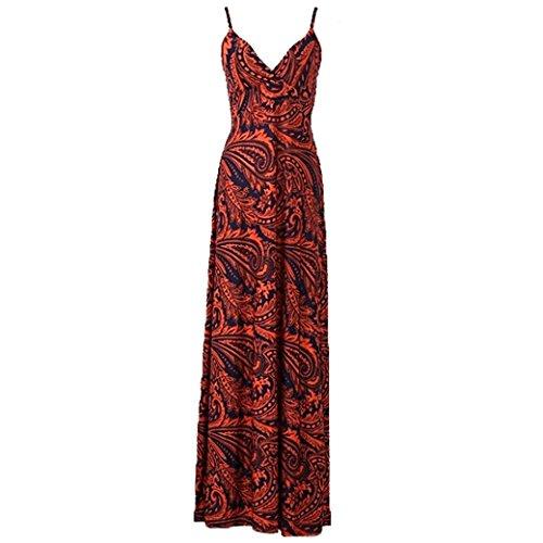 Women Ladies Printed Deep V-Neck Sling Boho Beach Long Maxi Dress Size M