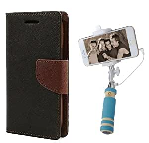 Aart Fancy Diary Card Wallet Flip Case Back Cover For LG G4 - (Blackbrown) + Mini Aux Wired Fashionable Selfie Stick Compatible for all Mobiles Phones By Aart Store
