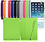 Zonewire® Green Ultra Thin Magnetic Smart Case Cover + Hard Back Case & Stylus Pen & Screen Protector For New Apple Ipad Air (iPad 5, 5th Generation)