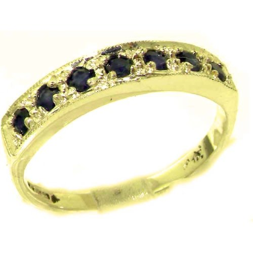 Solid English Yellow Gold Ladies Natural Sapphire Eternity Band Ring - Size 6.25 - Finger Sizes 5 to 12 Available