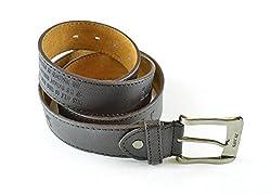 Moda Di Raza - Men's Simply Chic Leather Belt - Brown/S