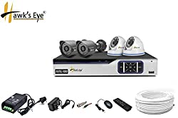 Hawkseye HD (1 MP) 4 CCTV Cameras (Night Vision) & 4 Channel HD DVR Kit With All Accessories, 2 Dome + 2 Bullet