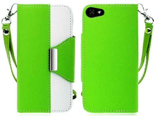 Mylife (Tm) Spring Green And White Classy Design - Textured Koskin Faux Leather (Card And Id Holder + Magnetic Detachable Closing) Slim Wallet For Iphone 5/5S (5G) 5Th Generation Itouch Smartphone By Apple (External Rugged Synthetic Leather With Magnetic