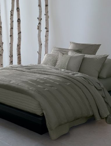 bedding essentials city stripe euro sham pewter donna karan clearance collection