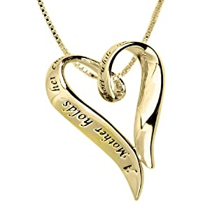 "14k Yellow Gold Overlay Sterling Silver ""A Mother Holds Her Child's Hand For A Short While And Their Hearts Forever"" Heart Pendant, 18"""