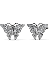 NEVI Butterfly Animal Swarovski Crystals Brass Rhodium Plated Stud Earrings Jewellery For Women And Girls (Silver)