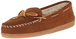 Minnetonka Women\'s Hardsole Pile Lined Slipper,Brown,9 M US