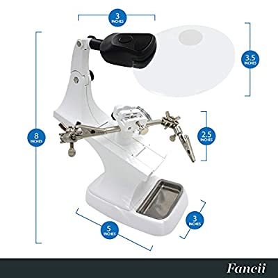 Fancii LED Light Helping Hand Magnifier Station - 3X 5X Illuminated Hands Free Magnifying Glass Stand with Clamp and Alligator Clips - For Soldering, Assembly, Repair, Modeling, Hobbies and Crafts