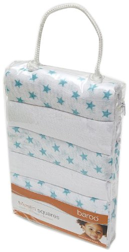 Baroo Muslin Squares (Pack of 6, White/ Blue)