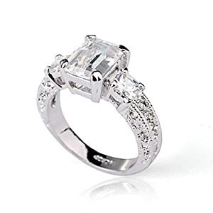 Fashion Plaza 18k White Gold Plated Use Swarovski Crystal Engagement Wedding Spark Ring R023 (10) from ShangHai XueGu