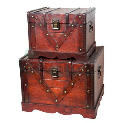 Vintiquewise(TM) Old Style Treasure Chest/Box, Set of 2 (Treasure Chest Basket compare prices)