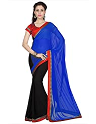 Designersareez Women Blue & Black Faux Georgette Saree With Unstitched Blouse (1688)