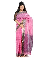 B3Fashion Traditional Handloom Tant Pink Coloured Cotton Saree With Purple & Beige Buti Work All Over The Saree...