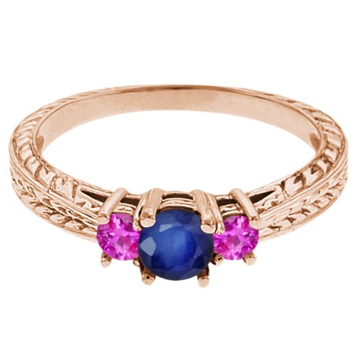 0.62 Ct Round Blue Sapphire Pink Sapphire 14K Rose Gold 3-Stone Ring