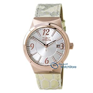 Invicta 15411 Women's Angel Silver Dial Rose Gold Steel Beige Leather Strap Watch