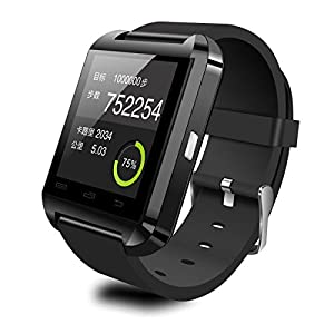 Foxnovo U8 Touch Screen Bluetooth Smart Wrist Watch U Watch Phone Mate for iOS Android Smartphones iPhone 6/5S/5C/5/4S/4 Samsung Galaxy Note 4/Note 3/Note 2/S5/S4/S3 HTC Sony Blackberry and More (Black)
