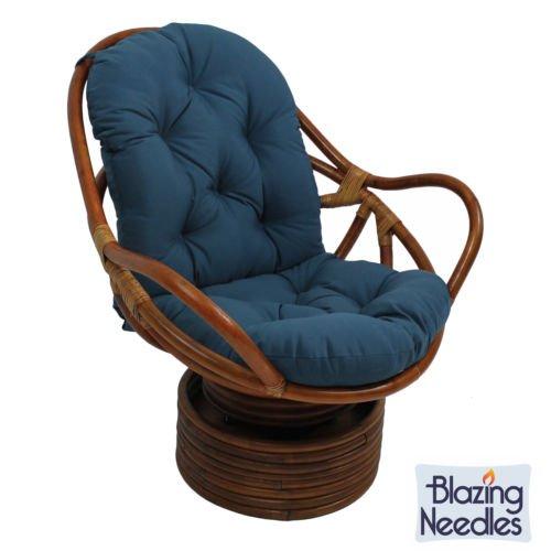 Swivel Rocker Cushions Blazing Needles Twill Royal Blue front-723328