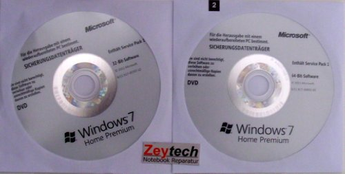 Microsoft Windows 7 Home Premium 32 & 64 Bit MAR Refurbished inkl. Service Pack 1 Deutsch, PC