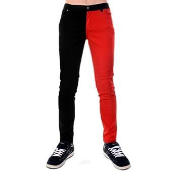Jist - Jean Pour Homme Jambe Bicolore 1 Rouge 1 Noire Cigarette - Rot Und Schwarz, 28W x Regulär
