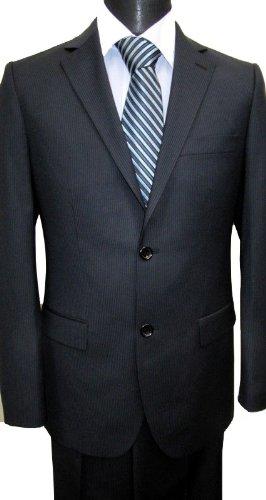 MUGA mens Suit elegant, Slim-line Lozenzo, Black, Size 36R (EU 46)