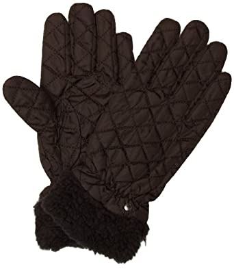 Isotoner Quilted Shirpa Cuff Women's Gloves Black Medium/Large