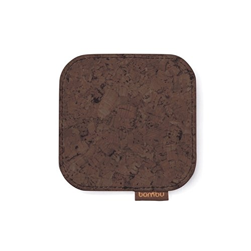 Cork Fabric Coaster   Dark Brown - Set Of 2