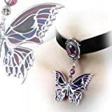 Alchemy Gothic Death's Head Butterfly Pewter And Swarovski Crystal Enamel Velvet Choker - One Size