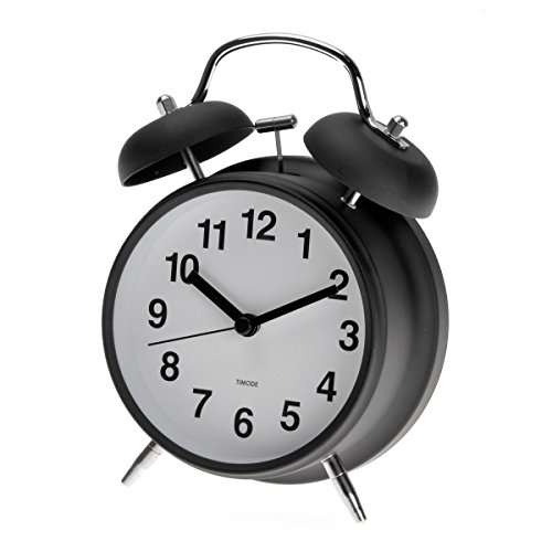 Zlyc 4-Inch Retro Double Bell Bedside Non-Ticking Analog Quartz Alarm Clock With Backlight, Black