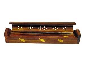 JBJ Wooden Incense Burner and Holder with Brass Work