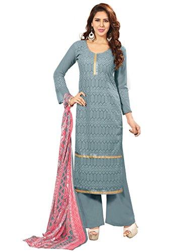 Riti Riwaz Exclusive Gray Faux Georgette Designer semi stitched Salwar Suits 4RHI1003